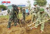 Bộ CHQS Hà Tĩnh xây lại nhà hư hỏng trong bão cho hộ dân Lộc Hà