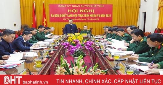 Đảng ủy Quân sự Hà Tĩnh ra nghị quyết lãnh đạo thực hiện nhiệm vụ năm 2021