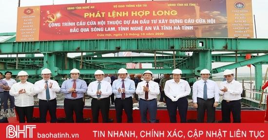 Hợp long cầu Cửa Hội bắc qua sông Lam, nối hai tỉnh Nghệ An - Hà Tĩnh