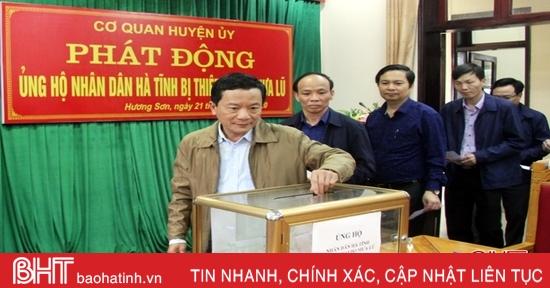 Hương Sơn quyên góp gần 40 triệu đồng ủng hộ người dân vũng lũ