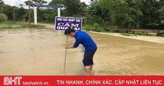 Mực nước sông Ngàn Phố trên mức báo động 2
