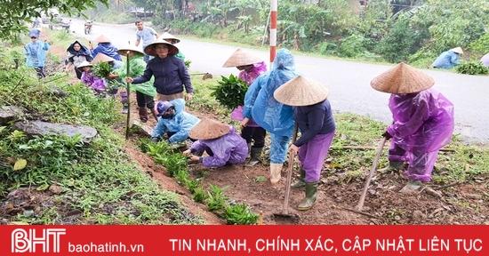 Người dân xã miền núi Hà Tĩnh đội mưa phủ kín hàng rào xanh
