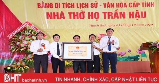 Nhà thờ dòng họ Trần Hậu ở Hà Tĩnh đón bằng Di tích lịch sử - văn hóa cấp tỉnh