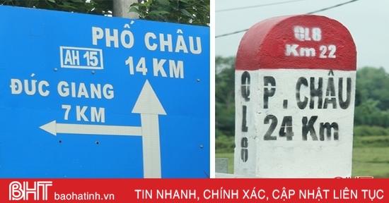 """QL 8A qua Hương Sơn: """"Bát nháo"""" cự ly trên cột mốc, biển báo giao thông!"""