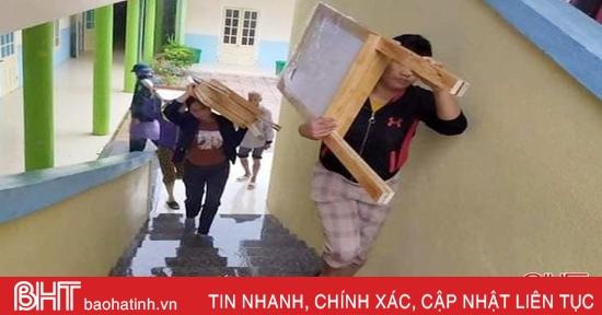 Sáng nay, toàn bộ học sinh ở Hà Tĩnh nghỉ học tránh mưa lũ