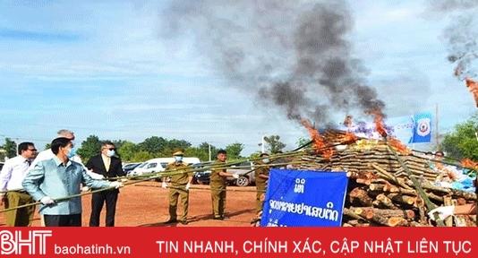 Thủ đô Vientiane, Lào tiêu hủy gần 6,6 tạ ma túy