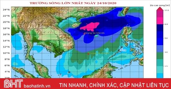 Thủy triều, nước dâng, sóng lớn tại vùng biển Hà Tĩnh trong bão số 8