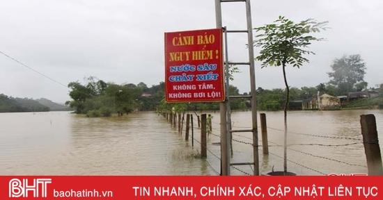 Vùng hạ du Vũ Quang vẫn ngập sâu, nhiều địa bàn bị cô lập